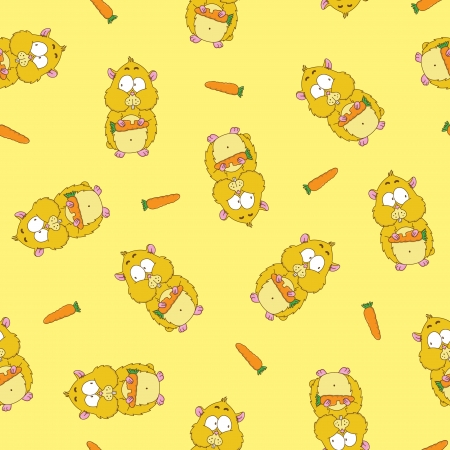Funny seamless pattern with hamsters Vector