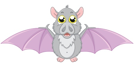 Vector illustration of cute cartoon bat
