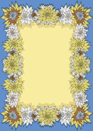Vertical hand-drown floral frame for text Vector