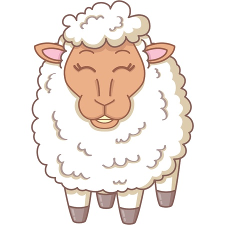 year of sheep: illustration of cartoon white sheep Illustration