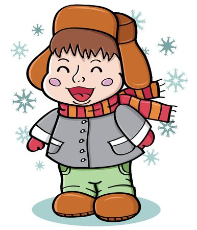 Vector illustration of happy boy during the winter holidays Vector