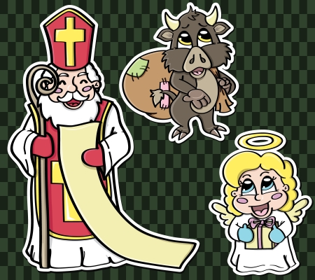 Stickers of legendary characters  St  Nicholas and his two assistants  angel and imp    Vector