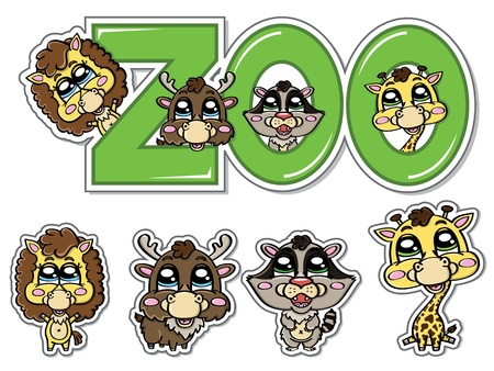 stickers of  cute animals from the zoo Vector
