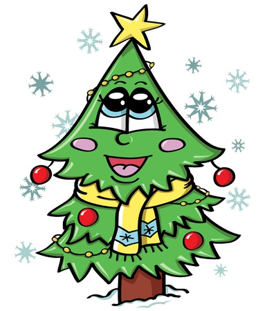 fur trees: illustration of cute Christmas tree