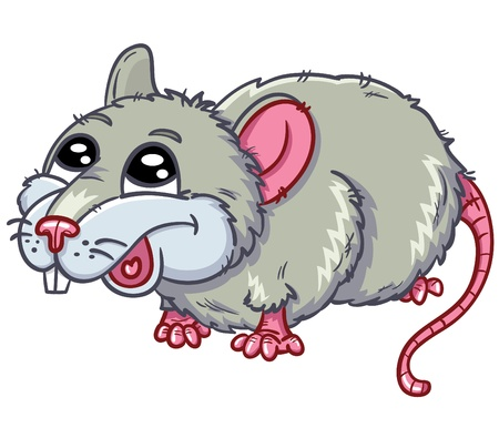 animal teeth: illustration of cute rat