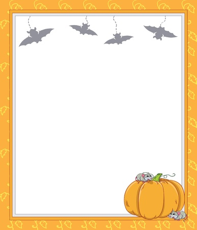 Frame with rats and pumpkin Vector
