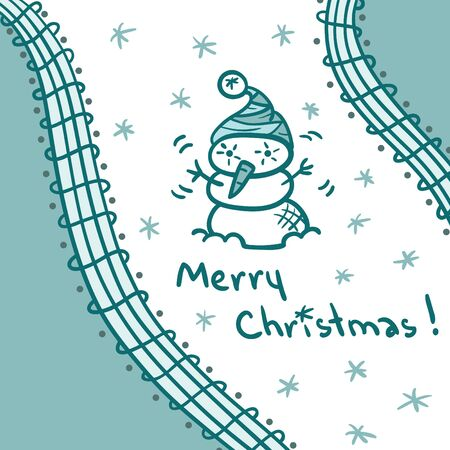 Greeting Christmas card with a snowman Stock Vector - 15539659