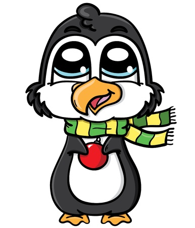 chubby: cute penguin wearing a scarf and holding a Christmas toy