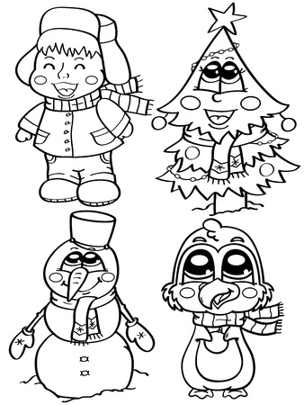 coloring cute winter characters Illustration