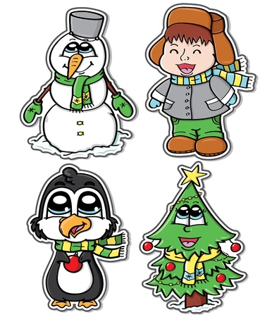 Stickers of cute winter characters  Vector