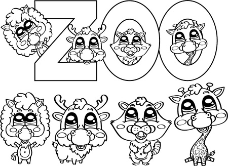 coloring cute zoo characters Vector