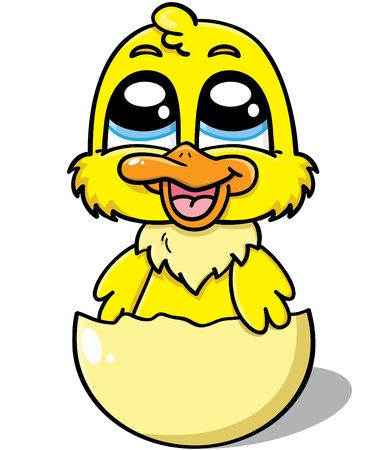 cartoon egg: illustration of a cute newborn duck in the shell of the egg