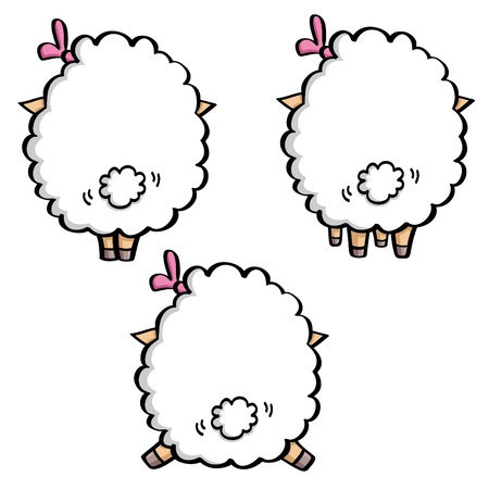 funny cartoon white sheep in three poses.  back view