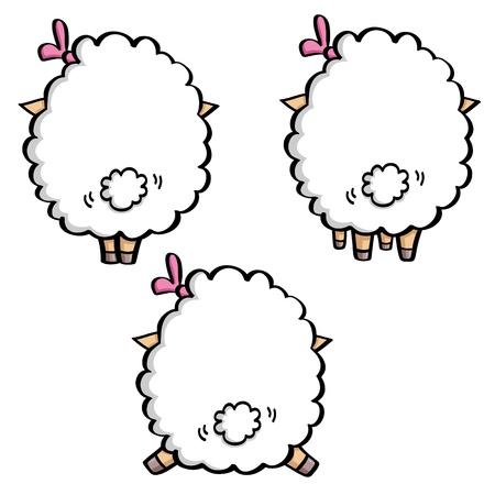 ovejita bebe: ovejas divertidas de la historieta en blanco en tres poses. Vista posterior de la