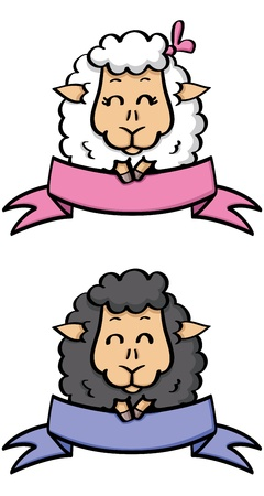 illustration of  labels with cute sheep Vector