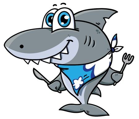 deceptive: Vector illustration of adorable  hungry shark Illustration