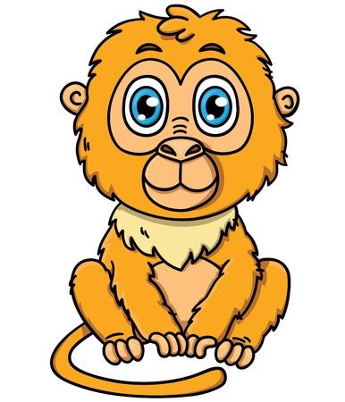 prankster: Cute cartoon tamarin monkey  Vector illustration of adorable  tamarin golden lion