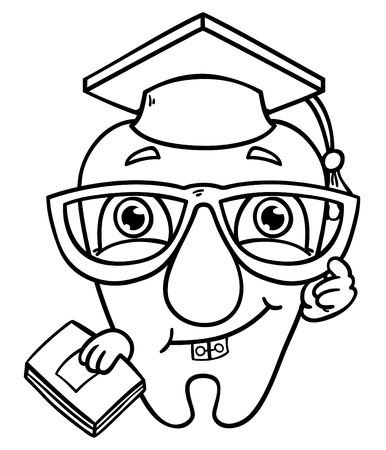 Outlines of wisdom tooth   illustration of funny wisdom tooth for coloring book Illustration