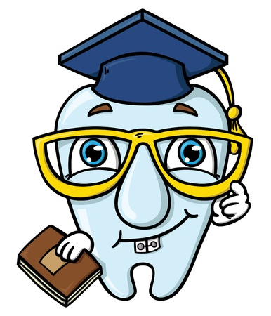 funny cartoon tooth  illustration of wisdom  tooth Vector