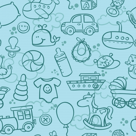 baby boy cartoon: outline seamless pattern for boy