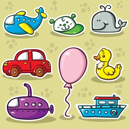 cartoon submarine: first set of toys.  Collection of cute vector toys