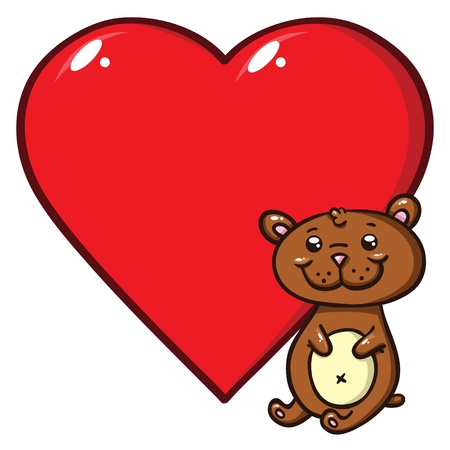 february 14th: r illustration of cute little bear and red heart