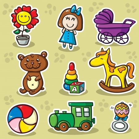group of objects: tweede reeks van speelgoed. Verzameling van cute vector speelgoed Stock Illustratie