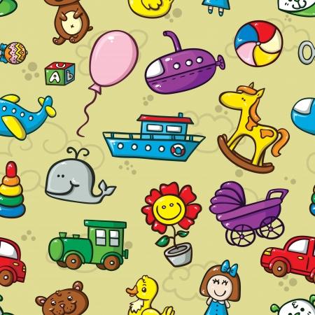 장난감 원활한 패턴입니다. 귀여운 장난감의 컬렉션 벡터 원활한 패턴