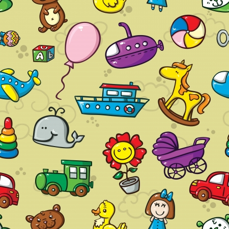 group of objects: toys seamless pattern. vector seamless pattern with collection of cute  toys