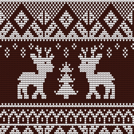 Knitted seamless pattern with deer Vector