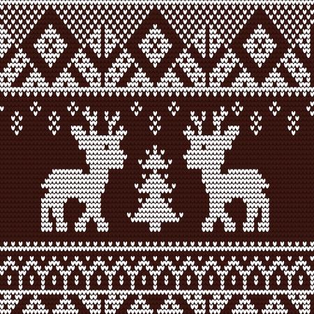 deers: Knitted seamless pattern with deer
