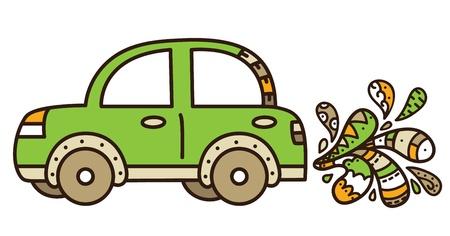 air pollution cartoon: Vector illustration of environmental net car   Illustration