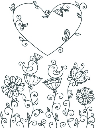 cute floral card with birds and heart-frame for text