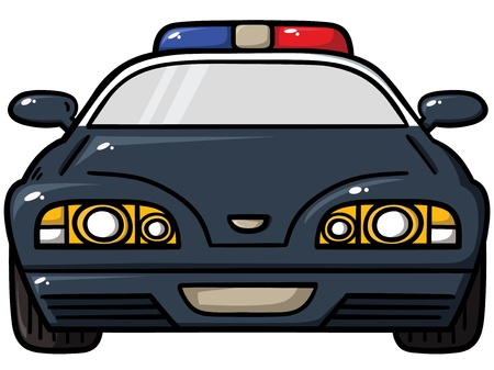 car front view:  illustration of  police car