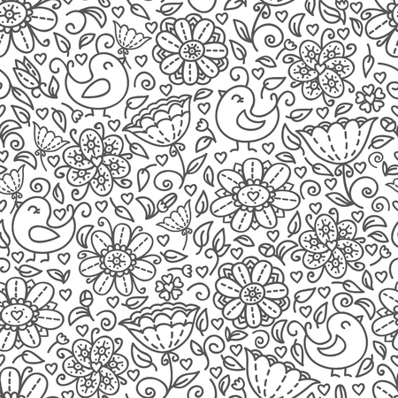 Cute doodle floral seamless pattern with birds   Vector