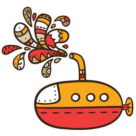 illustration of cute  submarine with doodle drops Vector