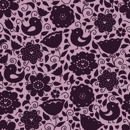 Cute doodle floral seamless pattern with silhouettes of birds and flowers Vector
