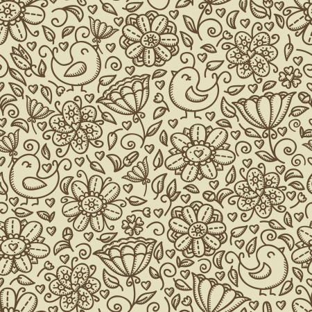 Cute vintage floral seamless pattern with birds Illustration