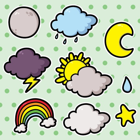 first Collection of cute cartoon vector weather icons Stock Vector - 20597847