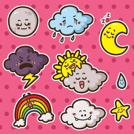 First collection of cute kawaii vector weather icons Vector