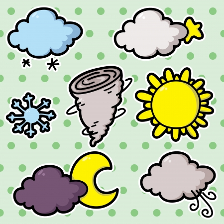 second Collection of cute cartoon vector weather icons Stock Vector - 20597850