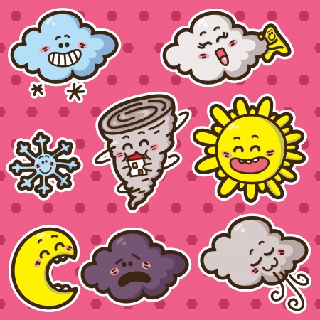 Second collection of cute kawaii vector weather icons Stock Vector - 20597851