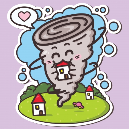 vector illustration of kawaii tornadoes which is eating house Vector