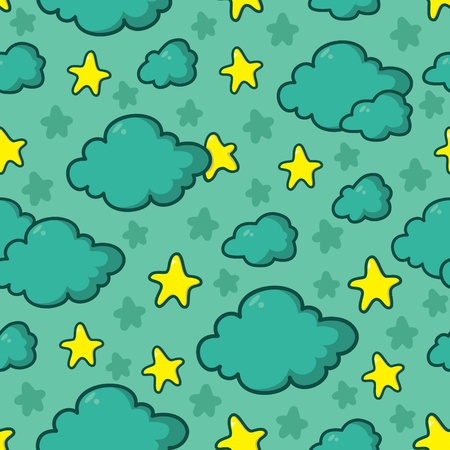 Cute cartoon seamless  pattern of night sky with stars and clouds Vector