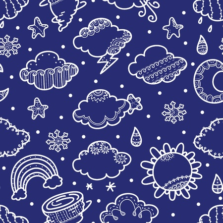 delicate seamless pattern with weather symbols Vector