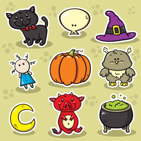 first set of halloween icons  Vector