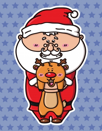 kawaii Santa which is holding deer Vector