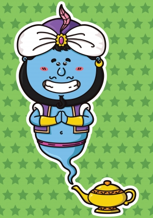 vector illustration of kawaii Genie and his magic lamp  Illustration