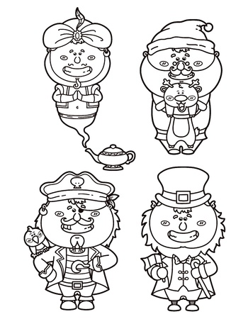 Vector illustrations of funny fantasy characters for coloring book Vector