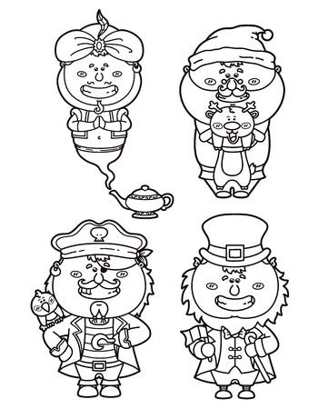 jinn: Vector ilustraciones de divertidos personajes de fantas�a para libro para colorear